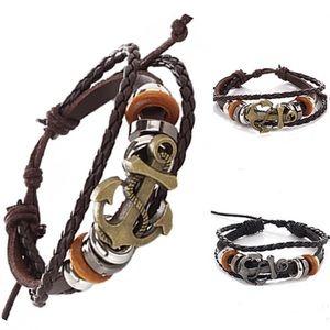 Anchor Faux Leather Bracelet